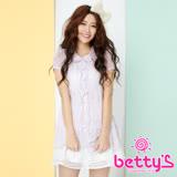 betty's貝蒂思 透視蕾絲拼接假兩件雪紡襯衫(淺紫色)