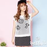 betty's貝蒂思 字母圖樣設計簍空針織衫(白色)