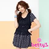 betty's貝蒂思 針織雪紡印花假兩件洋裝(藍色)