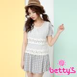 betty's貝蒂思 針織雪紡印花假兩件洋裝(灰色)