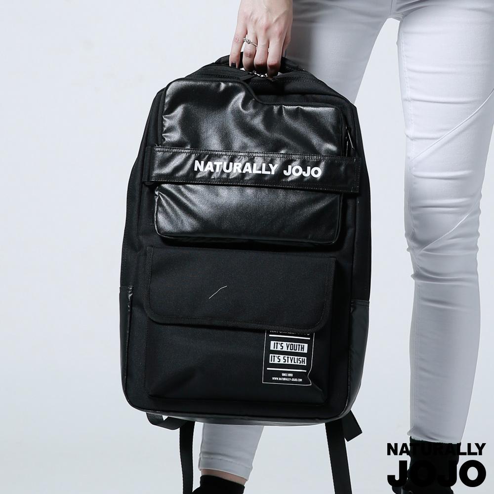 【NATURALLY JOJO】Y-P拼接布電腦後背(黑)