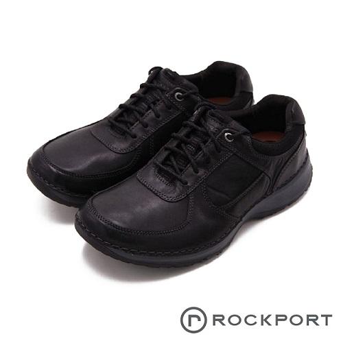 Rockport 超輕量輕盈系列 車縫工藝緩震型休閒 男鞋-黑色(另有巧克力色)