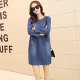 【Jisen】灑脫休閒寬鬆牛仔洋裝 (藍色,M~3L)