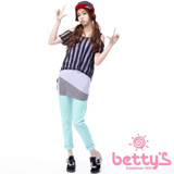 betty's貝蒂思 圓點拼接單釦直筒長褲(天藍)