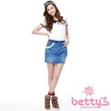betty's貝蒂思 串珠蕾絲口袋裝飾牛仔短裙(藍色)