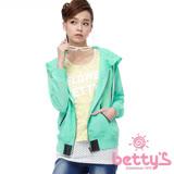 betty's貝蒂思 背部文字設計雪紡連帽外套(藍綠色)