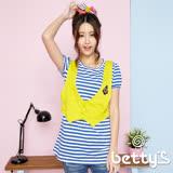 betty's貝蒂思 拼接背心純棉假兩件條紋T-shirt(藍色)