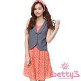 betty's貝蒂思 星星印花丹寧拼接假兩件無袖洋裝(橘色)