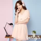 betty's貝蒂思 蕾絲拼接披風雪紡洋裝(嫩粉)