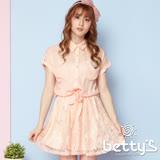 betty's貝蒂思 裙襬蕾絲拼接綁結雪紡洋裝(粉色)