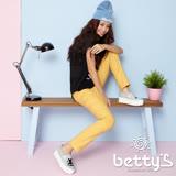 betty's貝蒂思 褲頭鬆緊格紋繡線彈性長褲(銘黃 )