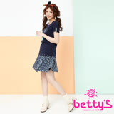 betty's貝蒂思 圓點打褶後腰拉鍊鬆緊短裙(深藍)
