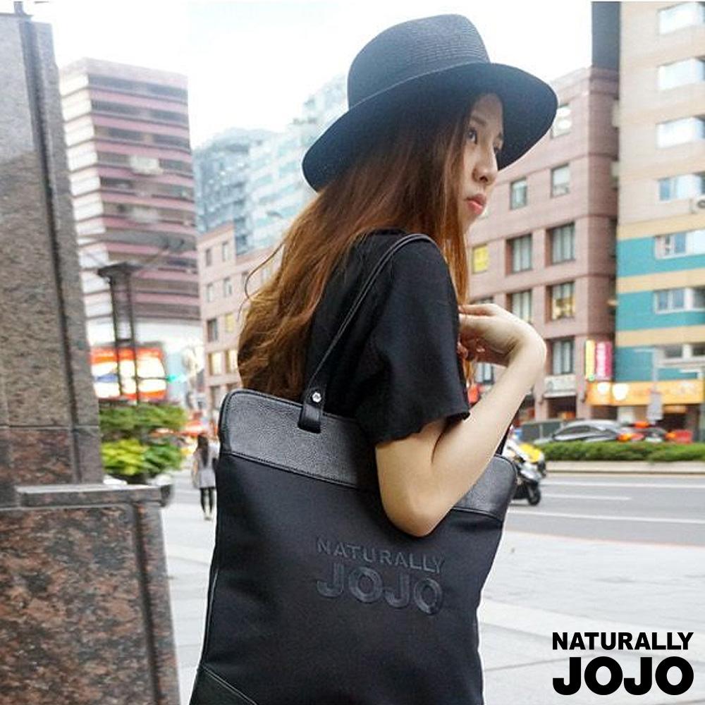 【NATURALLY JOJO】可收納LOGO側背包(黑)