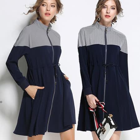 【麗質達人中大碼】8022綁帶立領洋裝外套(L-5XL)
