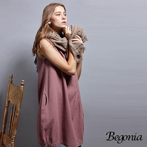 【Begonia】鬆緊領壓紋口袋背心洋裝(共兩色)
