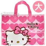 〔小禮堂〕Hello Kitty 購物袋《XL.粉.愛心.點點蝴蝶結》棉被袋.衣物收納袋