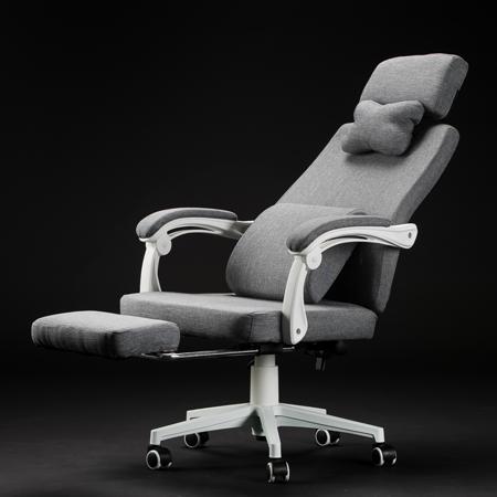 簡約北歐風 亞麻棉高背透氣電腦椅-附腳托