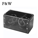 【P&W手錶上鍊盒】【木質鋼琴烤漆】碳纖維紋 4支裝 八種模式 動力儲存盒 機械錶專用