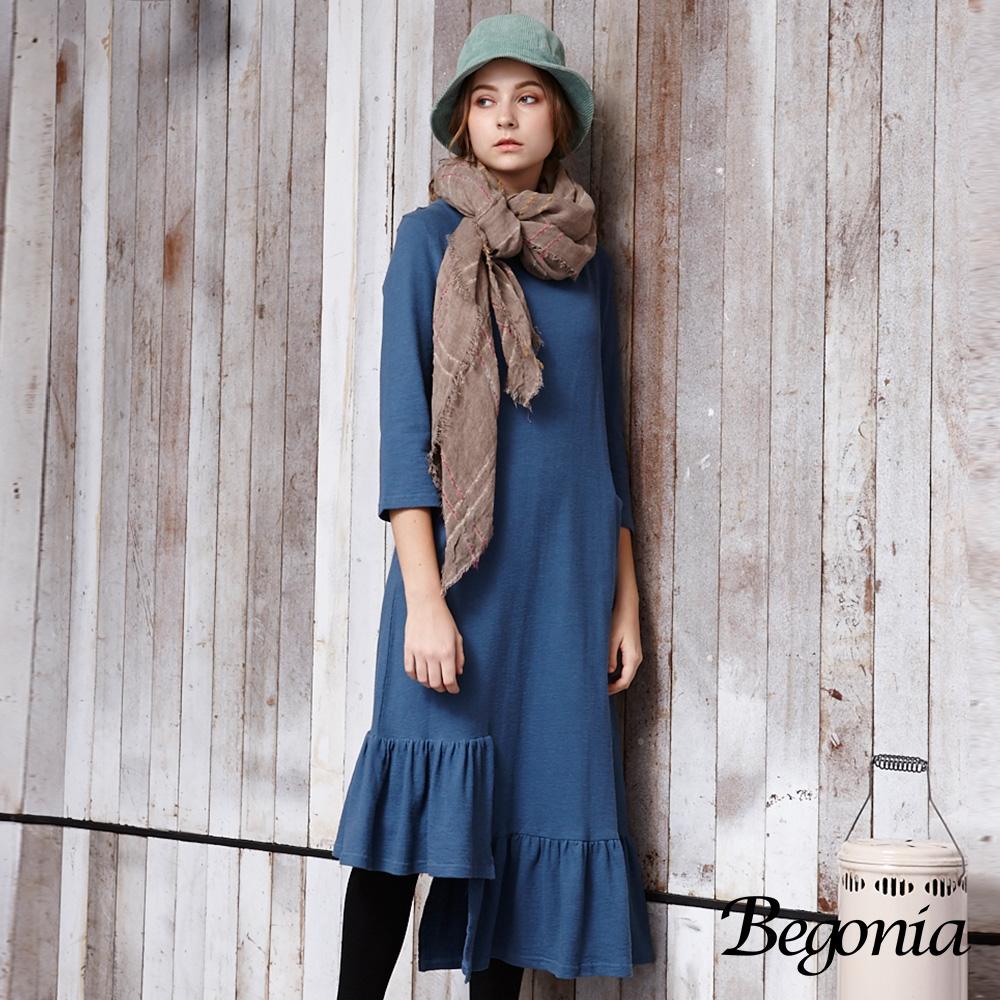 【Begonia】不對稱荷葉襬口袋長洋裝(共兩色)