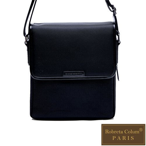 Roberta Colum - 現代雅痞休閒配真皮掀蓋機能側背包-共2色