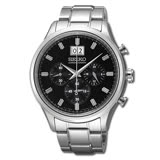 SEIKO 精工耀眼尊爵風男性雙眼計時手錶(SPC083P1)-黑面X銀色/42mm