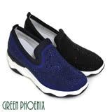 【GREEN PHOENIX】壓克力水鑽彈性萊卡牛麂皮輕量休閒鞋