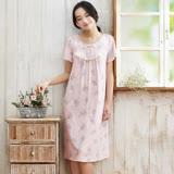 【華歌爾睡衣】超柔針織印花 M-L 短袖睡衣裙裝(淺紫)
