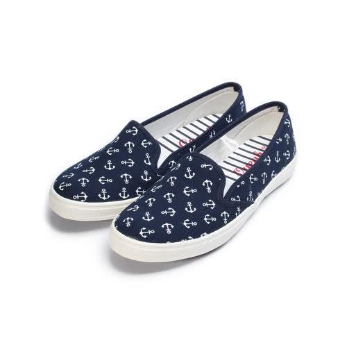 (女) OYEAH 海軍風平底布鞋 深藍 女鞋 鞋全家福