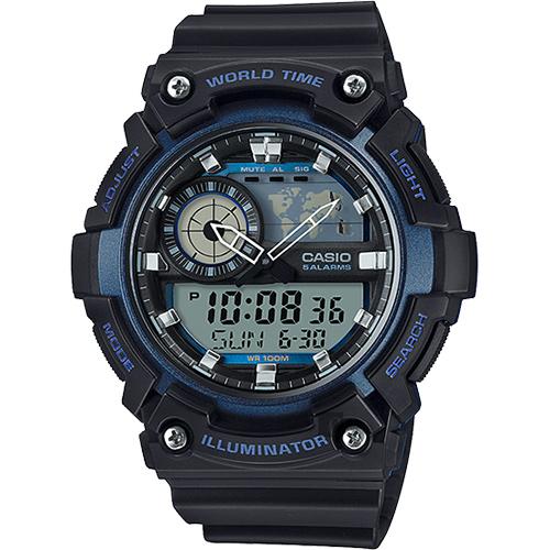CASIO 卡西歐 世界時間地圖手錶-藍黑 AEQ-200W-2AVDF