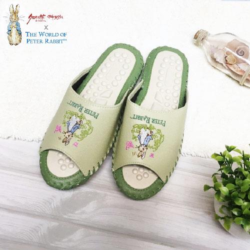 【クロワッサン科羅沙】Peter Rabbit 室內鞋 綠藤蝶按摩拖 綠28CM