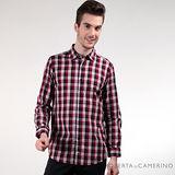 ROBERTA諾貝達 都會休閒 純棉簡約格紋長袖襯衫 黑紅