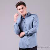 ROBERTA諾貝達 簡約型男 時尚百搭 純棉休閒長袖襯衫 藍色