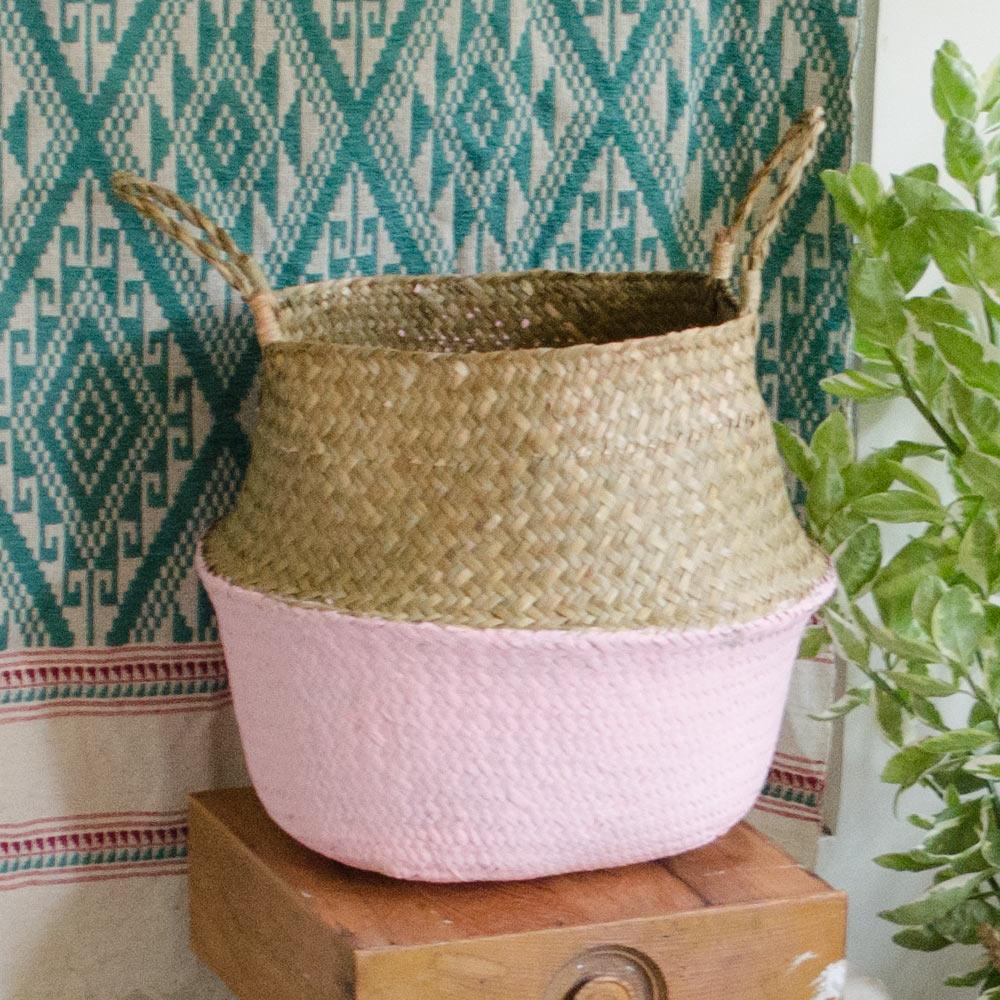 【收納職人】北歐生活手感草編拼色提把裝飾園藝花器/置物收納籃(櫻粉)