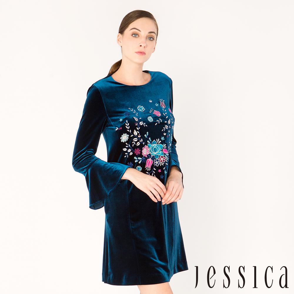 JESSICA - 經典花漾刺繡絲絨荷葉袖洋裝(藍)