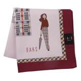 【DAKS】英倫淑女格紋邊框純綿帕領巾(桃粉色)