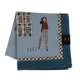 【DAKS】英倫淑女格紋邊框純綿帕領巾(藍色)