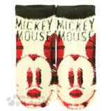 〔小禮堂〕迪士尼 米奇 成人保暖襪《米黃紅.大臉.英文字樣》適穿腳長22-24公分