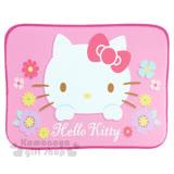 〔小禮堂〕Hello Kitty 腳踏墊《桃.大臉.花朵.45x65cm》止滑.海棉軟墊