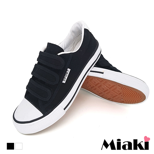 【Miaki】帆布鞋四季百搭校園魔鬼氈平底休閒包鞋  (白色 / 黑色)