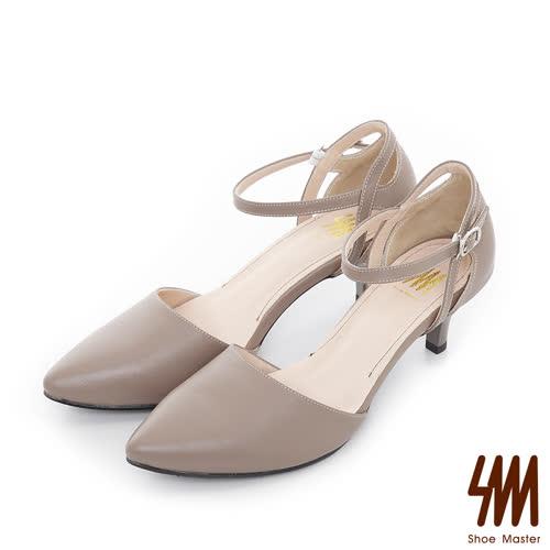 SM-台灣全真皮-素面中空踝帶尖頭中低細跟淑女鞋-可可色
