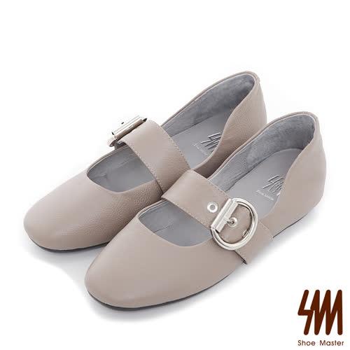 SM-全真皮-素面扣帶方頭平底休閒鞋-灰色