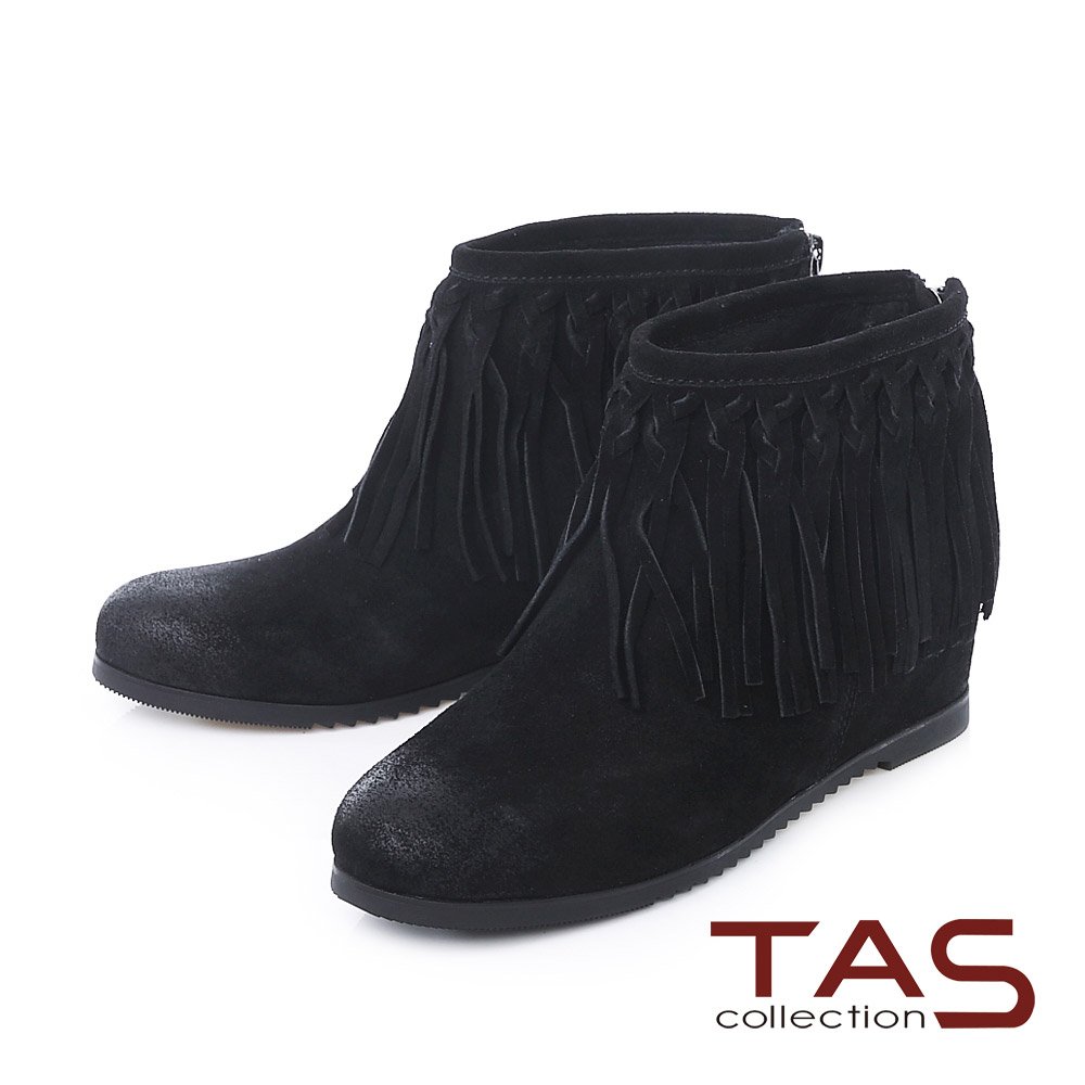 TAS 波希米亞編織流蘇擦色麂皮內增高短靴-煙燻黑