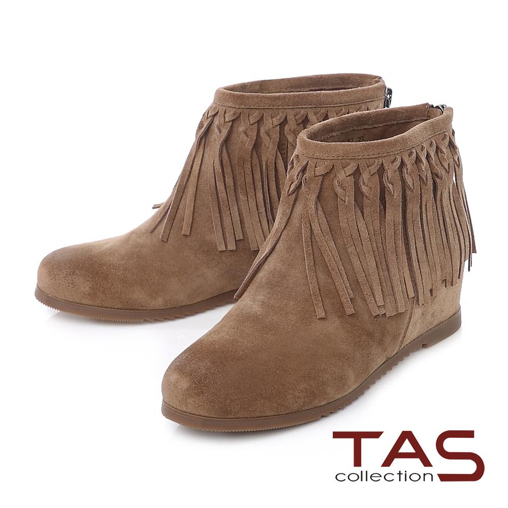 TAS 波希米亞編織流蘇擦色麂皮內增高短靴-復古棕