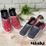 【Miaki】懶人鞋編織輕底休閒慢跑鞋 (紅色 / 黑色)
