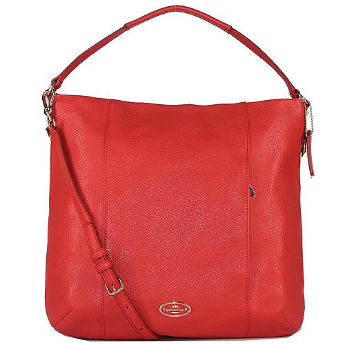 COACH 圓標荔枝紋皮革肩背/斜背二用包-橘紅色