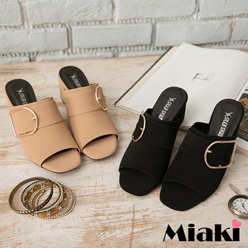 【Miaki】MIT 涼鞋必敗韓風中跟露趾拖鞋 (卡其色 / 黑色)