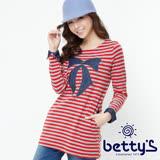 betty's貝蒂思 蝴蝶結珠飾條紋長版上衣(紅色)