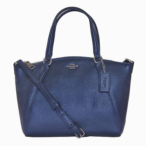 【COACH】金屬立體LOGO全皮荔枝紋手提斜背兩用包-迷你款_深藍色