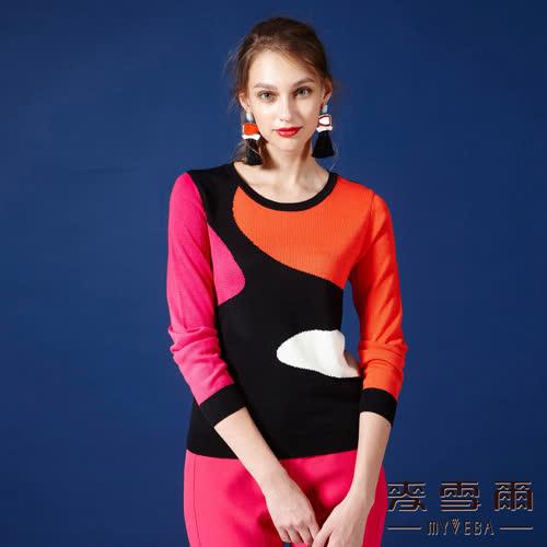 【麥雪爾】多色混搭針織上衣-桔紅