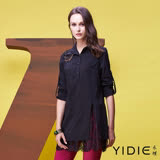 【YIDIE衣蝶】鏤空刺繡蕾絲棉質拼接上衣
